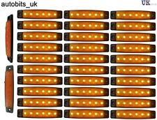 30 pcs 24V 6 LED Side Marker Yellow Indicators Lights Truck Trailer Bus Lorry