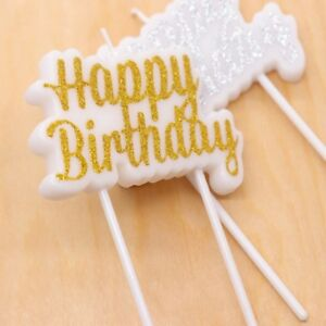 Image Is Loading Happy Birthday Candles For Party Sparkle Cake
