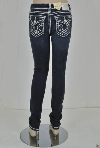 Kids Size 7 Skinny Jeans Bling Jewel Pocket K1208NR NWT LA Idol Girls
