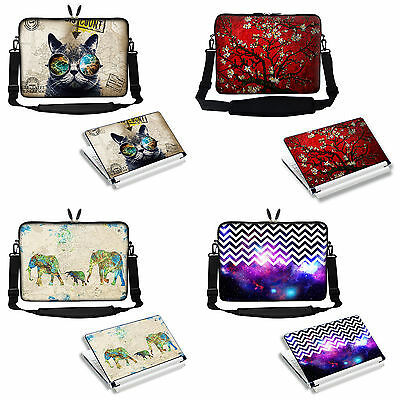 "17/"" 17.3/"" Neoprene Laptop Sleeve case Bag w Shoulder Strap /& Matching Skin 3021"