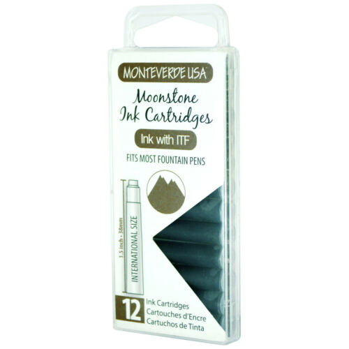Pack of 12 Monteverde G305MS Ink Cartridges Clear Case Gemstone Moonstone