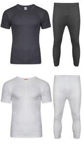 Boys Girls Thermal Long Johns T Shirt White Grey Base Layers Childrens FULL SET