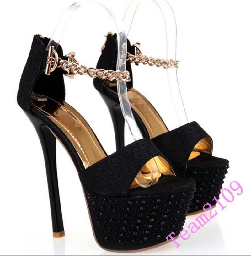 Fashion Sexy Women's Super High Heels Stiletto Platform Ankle Strap shoes