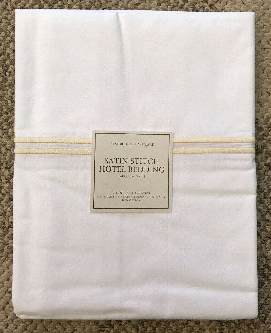 Restoration Hardware RH Satin Stitch Hotel 2 King Pillowcases White Butter