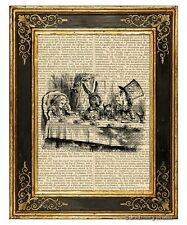 Alice in Wonderland Art Print on Vintage Book Page Story Book Mad Tea Party