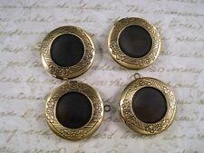 Antique Bronze Plated Brass Round Lockets (4) - G054 Jewelry Finding