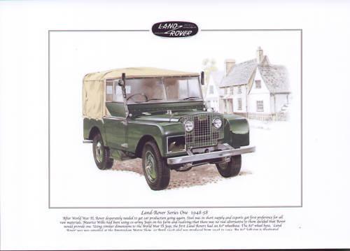"Fine Art Print  A4 size LAND-ROVER Series One 1948-58 80/"" Wheelbase Soft Top"