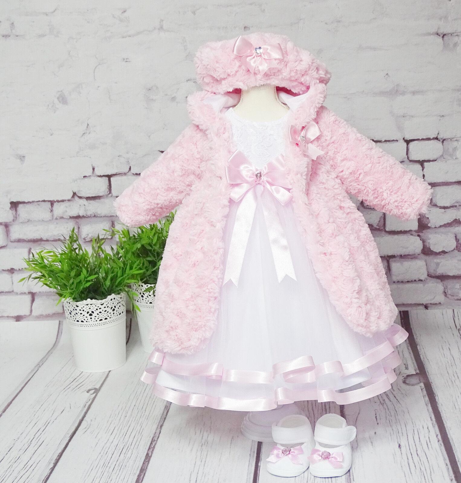 rosa ❤️Neuheit 2019❤️ Taufkleid+Stirnband+Mantel Spitze Taufe Babykleid weiss
