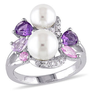 Sterling Silver 6.5-8 mmPearl Amethyst Sapphire & Rose de France Ring