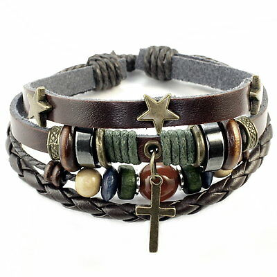 Herren Leder Armband Stern//Kreuz Surfer Bracelet Leather men schwarz NEU blau