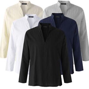 Mens-Collar-V-neck-Linen-T-Shirt-Long-Sleeve-Casual-Loose-Blouse-Grandad-Shirts