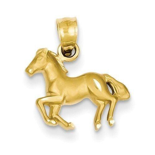 SMALL 14K YELLOW gold SATIN FINISH & DIAMOND-CUT HORSE  PENDANT  CHARM