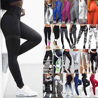 Damen Hohe Taille Yogahose Sporthose Jogginghose Fitness Leggings Strecken Hose