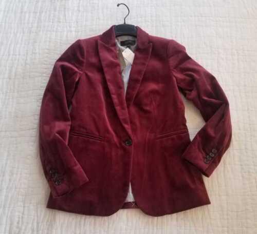 NEW WOMEN/'S 2 4 6 8 10 J CREW PARKE BLAZER IN CABERNET RED VELVET JACKET