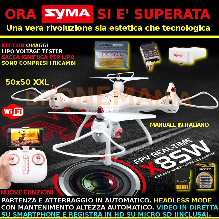 DRONE SYMA X8SW XXL BAROMETRO HEADLESS CAMERA HD ruotabile e FPV real time