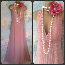 Nwt Jenny Packham Pink 20s deco gatsby evening party bead Prom dress 10 38