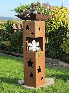 Saeule-Schale-Sterne-Deko-Edelrost-Rost-Holz-Weihnacht-Windlicht-Garten-Winter
