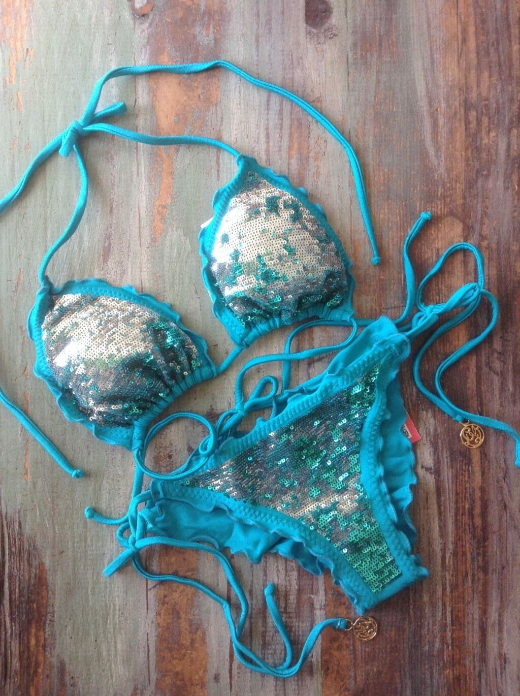 Luli Fama  XS  Wild Indulgence  sequined bikini Mermaid color   SEXY  SALE