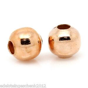 1000-Rosegold-Spacer-Perlen-Kugeln-Beads-Metall-Perlen-4mm