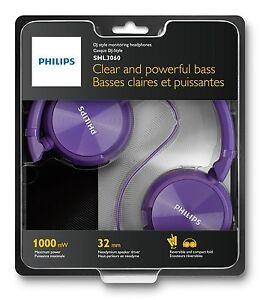 Cascos-Philips-Morados-SHL3060-3-5-1000mW-Diadema-Cerrado-Auriculares-Musica-MP3