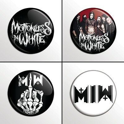 """4-Piece MOTIONLESS IN WHITE (MIW) 1"""" Pinback Band Buttons / Pins / Badges Set"""