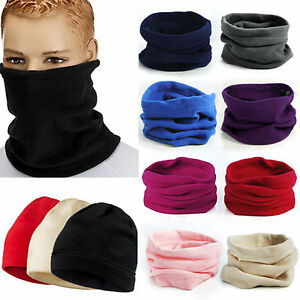 Girls Neck Scarf Snood Neck warmer fleece Thermal Stretchy Skiing Pink Mask