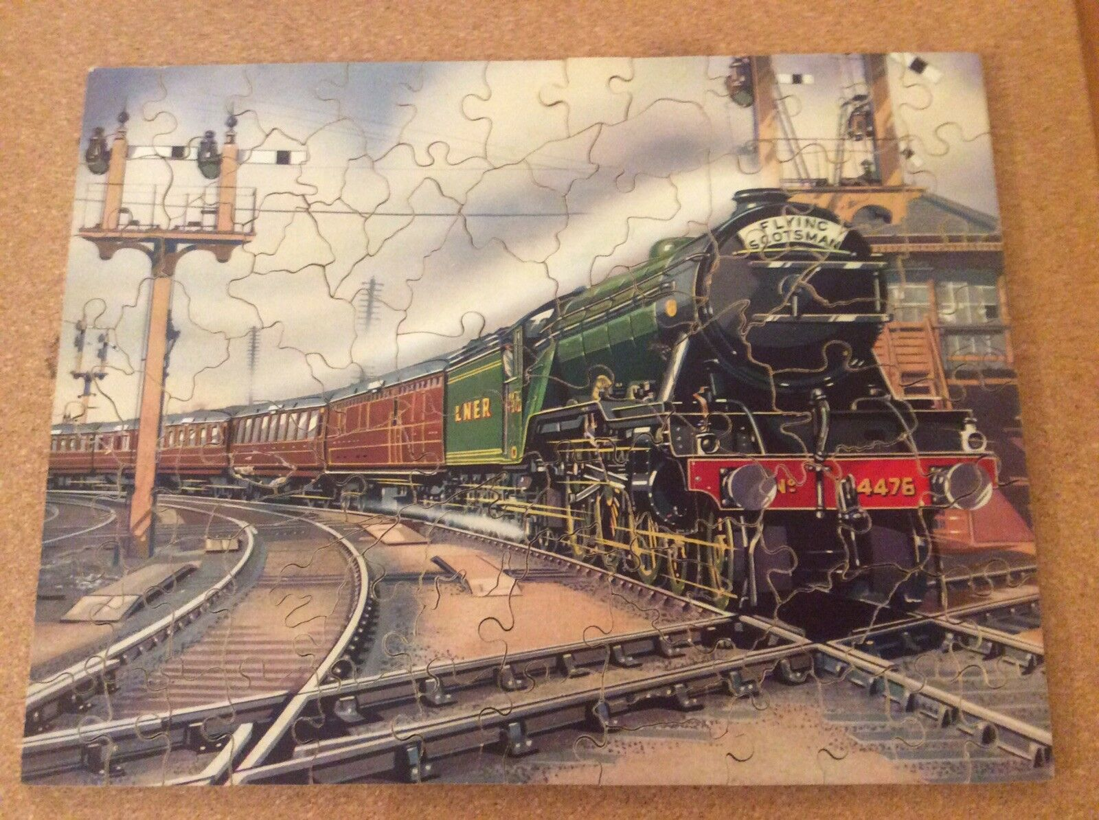 Vintage 1940s Victory Geographical Puzzle Double Sided Scotland flying Scotsman