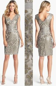 9e22094b822c1 Image is loading 328-Tadashi-Shoji-Smoke-Pearl-Paillette-Embroidered-Sequin-