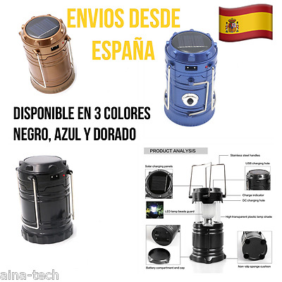 Lampara Farol Solar Para Camping, Senderismo, Casa,Entrada USB Para Cargar Móvil