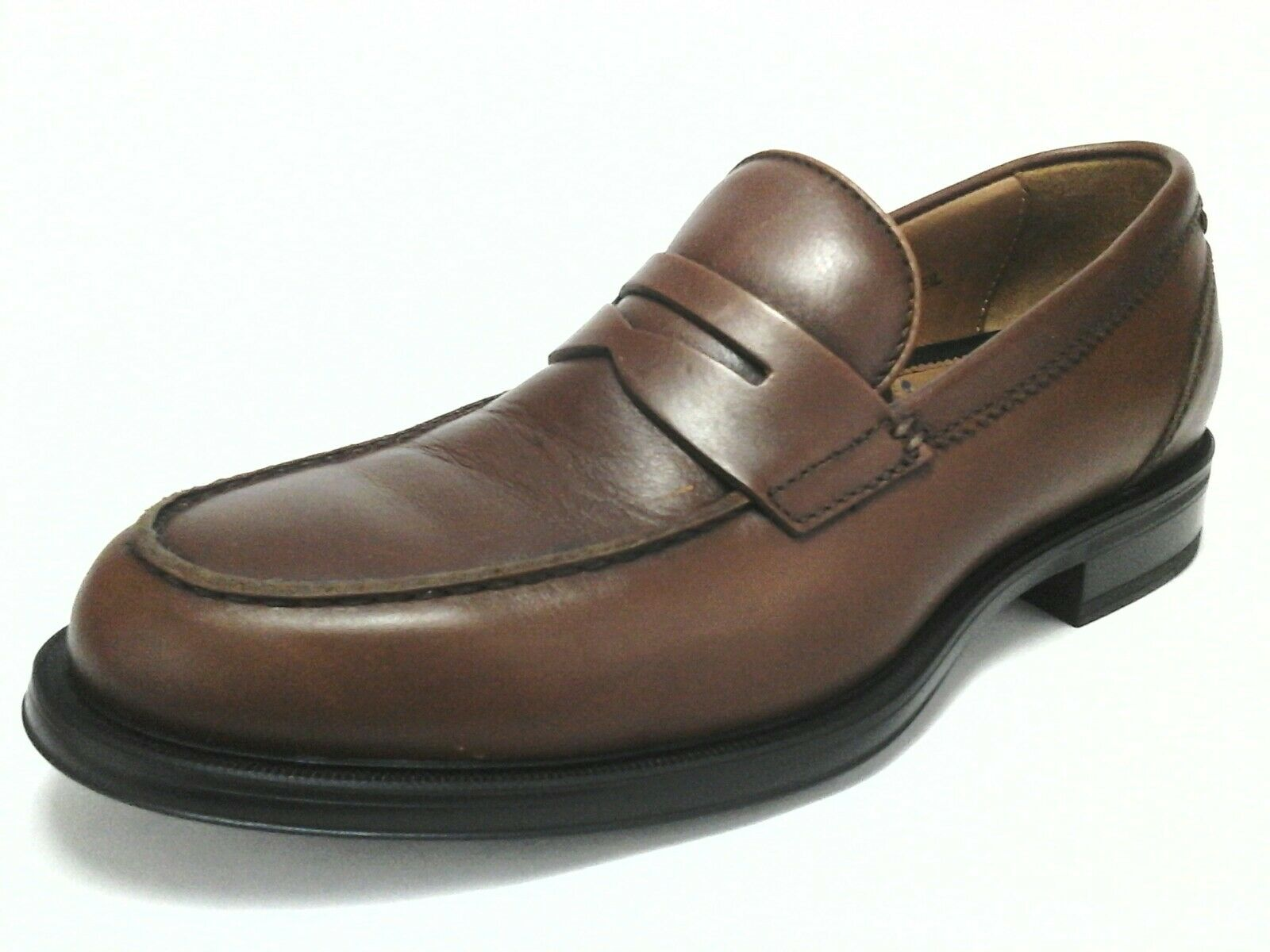 Aquatalia Neil Mens Comfort shoes Penny Loafers Brown Leather 8 41 Made in