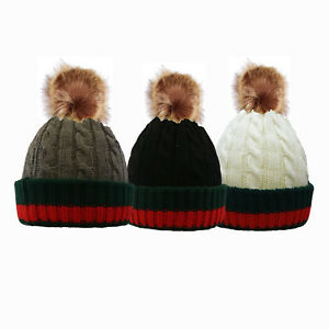 bdbe6bca0 Men's Women's Winter Rib Knitted Beanie Hat with Chunky Faux Fur ...