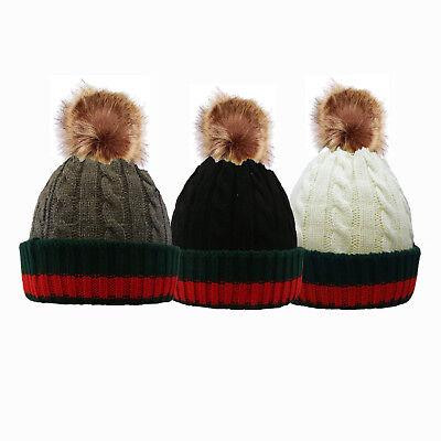 100% Vero Men's Women's Winter A Coste Lavorato A Maglia Cappello Beanie Con Pompon In Pelliccia Sintetica Grosso Pom Pom-mostra Il Titolo Originale