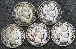 1907-1913-1913-S-1915-1916-Barber-Dimes-Silver-NICE-LOT-F049