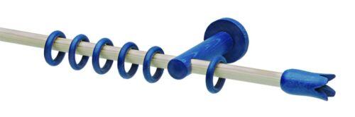 Gardinenstange Vorhangstange Fenster Stilgarnitur 16 mm Holz Blau Buche 120 cm