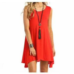 aa41de139dad Details about J0-5397 Panhandle Red Label Junior's Sleeveless Knit Swing  Dress- Orange NEW
