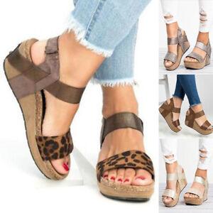 aa7b260f220 Womens Gladiator sandals size 7 8 9 Platform Wedge High Heels Casual ...
