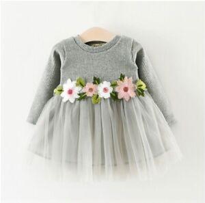 New Size 9 12 Months Baby Girls Dress Grey Long Sleeve Flower Tulle Dress Ebay