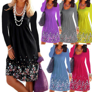 Women-Casual-Floral-Printed-Long-Sleeved-Loose-Ruffled-Pleat-Knee-Length-Dress