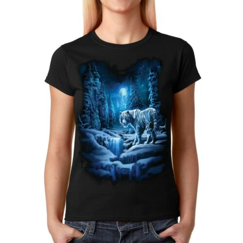 Velocitee Ladies T-Shirt Fantasy White Snow Tiger A19427
