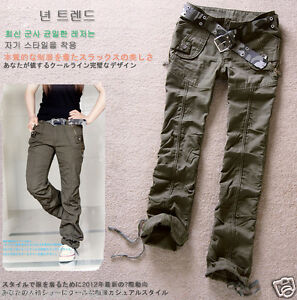 4a8389a7bfe5 Image is loading Womens-Military-Army-Green-Cargo-Slim-Pants-Leisure-