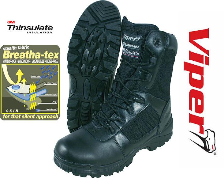 VIPER SECURITY TACTICAL WATERPROOF Stiefel POLICE SECURITY VIPER BLACK  Herren COMBAT 4-13 Stiefel UK 69c119