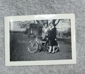 Vintage PHOTO Man & Women with Enamel Porcelain POSTAL TELEGRAPH BICYCLE