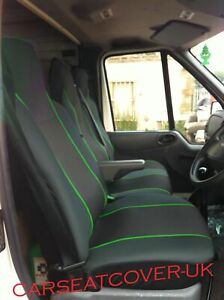 DELUXE BLUE PATCH VAN SEAT COVERS SINGLE FORD TRANSIT CUSTOM 2017 DOUBLE