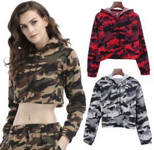 Womens Camouflage Sweatshirt Ladies Jumper Pullover Sweater Hooded Top Blouse UK