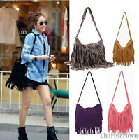 Hot Celebrity Lady Tassel Suede Fringe Shoulder Messenger Handbag Cross Body Bag