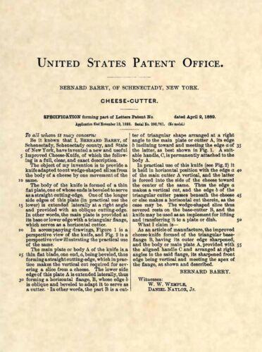 Original Cheese Cutter US Patent Art Print Antique Vintage Kitchen Cooking 342
