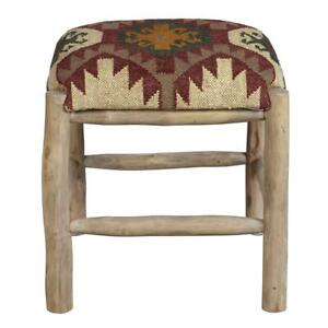 Pleasing Details About Home Fare Rustic Upholstered Wood Stool In Southwest Ganado Pattern Machost Co Dining Chair Design Ideas Machostcouk