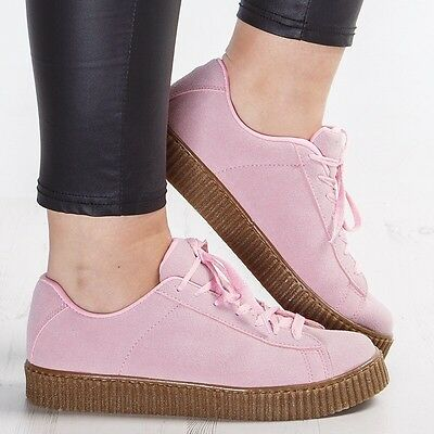 Ladies Pink Faux Suede Double Platform Creepers