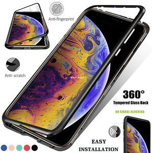 Adsorcion-magnetica-de-vidrio-templado-Metal-Funda-Para-iPhone-XS-X-7-8-6-Plus