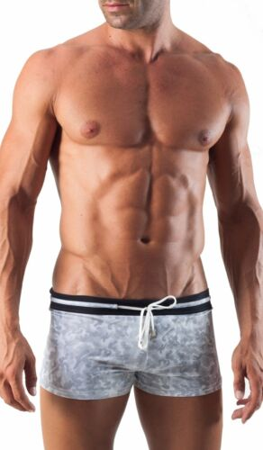 Geronimo Mens Swimwear Black /& Grey Square Cut Boxer Trunks Glossy Swimming suit